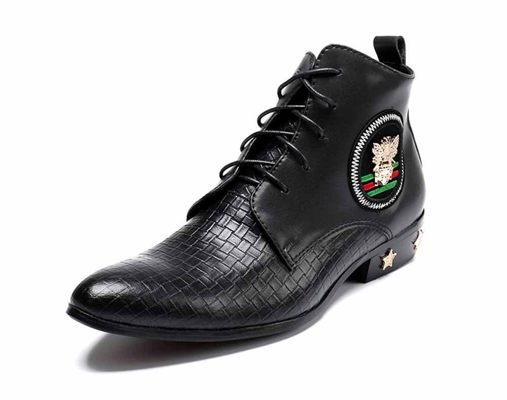 GLSHI Männer British Retro Casual Martin Stiefel Männer Spitz High Top Fashion Schuhe Lace Up Derby