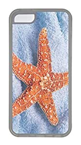 iPhone 5C Case, Customized Protective Soft TPU Clear Case for iphone 5C - Starfish Yellow Cover