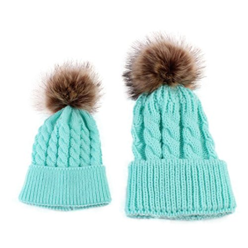 [Sunbona Mom and Baby Matching Knitting Hat Cap Winter Warm Cute Pur Pom Pom Beanie Hat (Sky Blue)] (Matching Costumes For Mom And Baby)