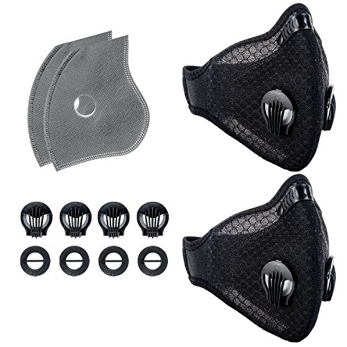 Krisvie Dustproof Face Mask Activated Carbon Dust Mask with Filter Filtration Cotton Sheet and Valves for Exhaust Gas, Pollen Allergy, PM2.5 Running Cycling Outdoor (Black 1.0 ()