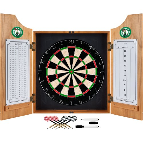 NBA Boston Celtics Wood Dart Cabinet Set by Trademark Gameroom