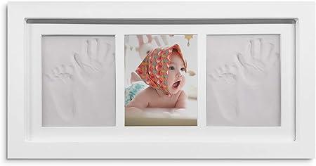 mreechan bebé Handprint y Marco de huella Inkpad de fotos Regalos BabyParty seguros y elegantes Elegante blanco de madera sólida,marco huellas bebe,huellas bebe tinta Regalos para Bebé Recién Nacido