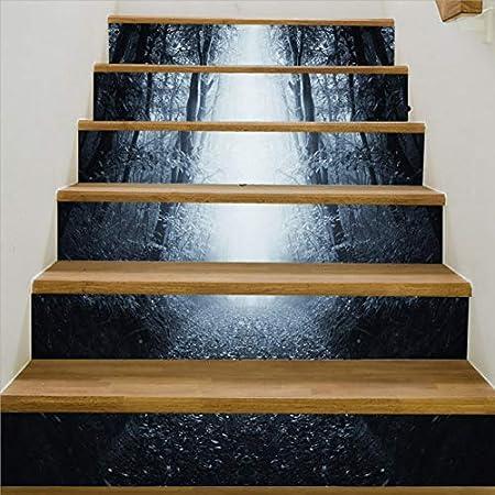 HAIMACX Escaleras 3D Pegatinas Niebla Entrada Entrada del Bosque Decoración del Edificio Creativo Escalera 3D Pegatinas DIY Autoadhesivas Pegatinas De Pared: Amazon.es: Hogar