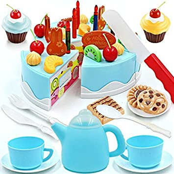 Amazoncom Dr Queen Play Plastic Food Set Kids Gift Birthday - Plastic birthday cake
