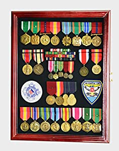 Military Medals, Pins, Badges, Patches, Insignia, Ribbons, Flag Display Case Shadowbox Cabinet Pinnable Background - Lockable