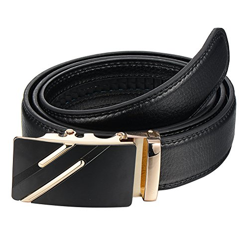 XOSOY Men's Cowhide Leather Automatic Buckle Ratchet Belts business casual Waist Belt Strap