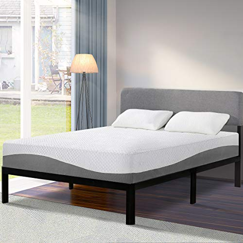 Olee Sleep 10 Inch Gel Infused Layer Top Memory Foam Mattress Grey (Queen) 10FM02Q (Futon Frame Modern Bedroom)