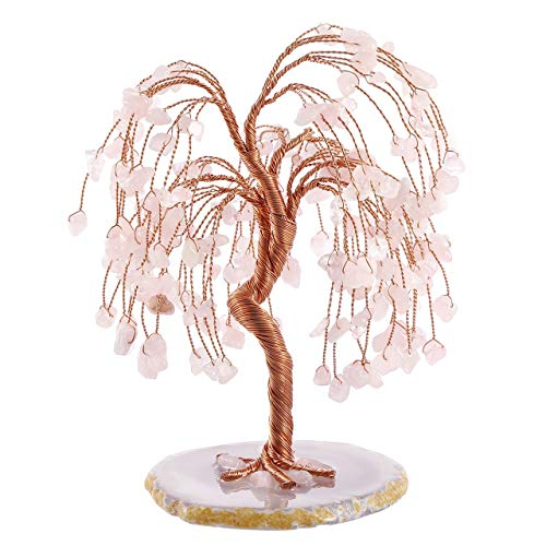 Jovivi Natural Healing Crystals Rose Quartz Tree Tumbled Gemstone Stones Money Tree, Geode Agate Slices Base Feng Shui Ornaments Home Decoration for Wealth and Luck 5.5