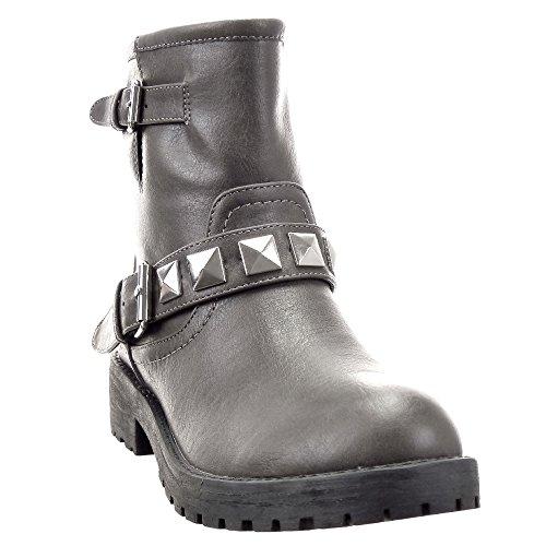 Sopily - Zapatillas de Moda Botines Cavalier Biker - Motociclistas Media pierna mujer tachonado cuadrado pirámide tachonado Talón Tacón ancho 4 CM - Gris