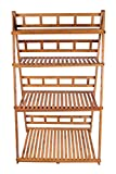 Bamboo Folding Four-Layer Plant Stand,Natural