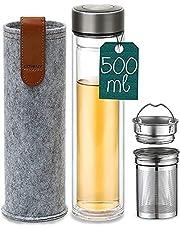 Theefles met zeef 500ml - lekvrij - dubbelwandig glas - hittebestendig - drinkfles To Go incl. vilten tas