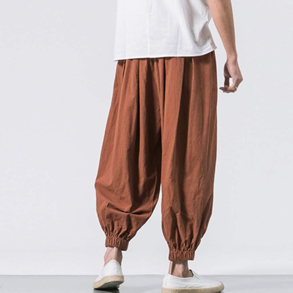 Sunyastor Men's Cotton Harem Yoga Baggy Boho Pants Casual Pants Drawstring Loose Fit Harem Pants Wide-Legged Pants Coffee by Sunyastor men pants (Image #3)