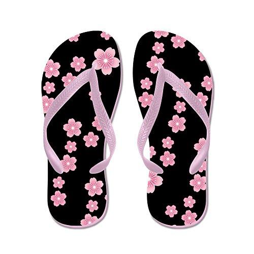 Cafepress Cherry Blossoms Zwart Patroon - Flip Flops, Grappige String Sandalen, Strand Sandalen Roze