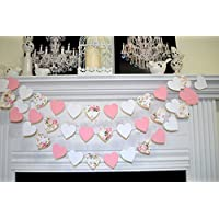 Floral Shabby Chic Heart Garland ROSE Paper Rustic Wedding Bridal Shower Blush Pink