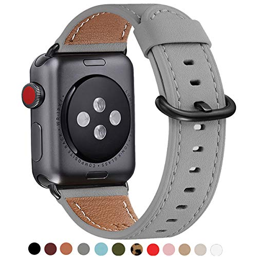 WFEAGL Compatible iWatch Band 38mm 40mm 42mm 44mm, Top Grain Leather Bands of Many Colors for iWatch Series 4,Series 3,Series 2,Series 1 (Grey Band+Black Adapter, 38mm 40mm)