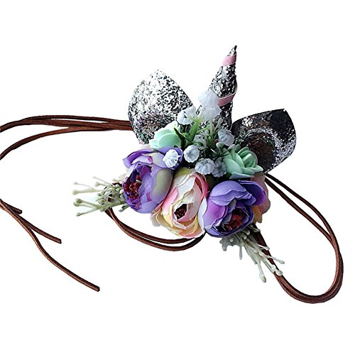 Baby Unicorn Headdress | Floral Headbands for Cosplay Costume Makeup Party (Silver and (Angel Makeup Costume)