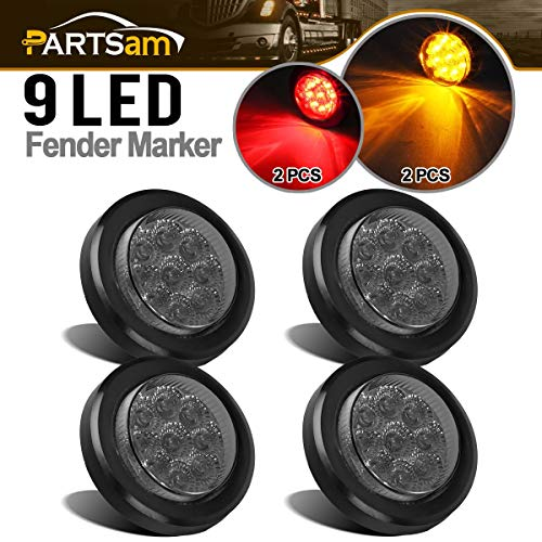 Partsam 4Pcs 2 Inch Smoked Round Led and Side Marker Lights Kit 9 Diodes w Reflectors Grommets/Pigtails Truck Trailer Rv Flush Mount Waterproof 12V, 2 Round Led Lights (2Amber+2Red)