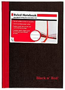 Black n' Red Casebound Notebook, Ruled, 8.25 x 5.875 Inches, 96 Pages (192 Sides) (E66857)