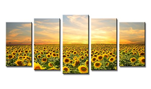 Wieco Art - Sunflowers Large Modern 5 Panels Framed Giclee Canvas Prints Artwork Landscape Pictures Paintings on Canvas Wall Art Ready to Hang for Living Room Home Office Decorations