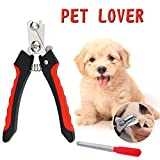 Moolecole Dog Nail Clippers and Trimmer Professional Stainless Steel Pet Nail Grooming Clipper Dog Nail File with Adjustable Safety Guard
