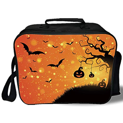 Insulated Lunch Bag,Halloween,Magical Fantastic Evil Night Icons Swirled Branches Haunted Forest Hill Decorative,Orange Yellow Black,for Work/School/Picnic, -