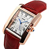 Scheppend Wome's Rome Square Quartz Watch Red Leather Band Waterproof Watch