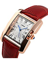 Womes Rome Square Quartz Watch Red Leather Band Waterproof Watch