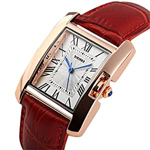 Scheppend Women's Rome Square Quartz Watch Red Leather Band Waterproof Watch