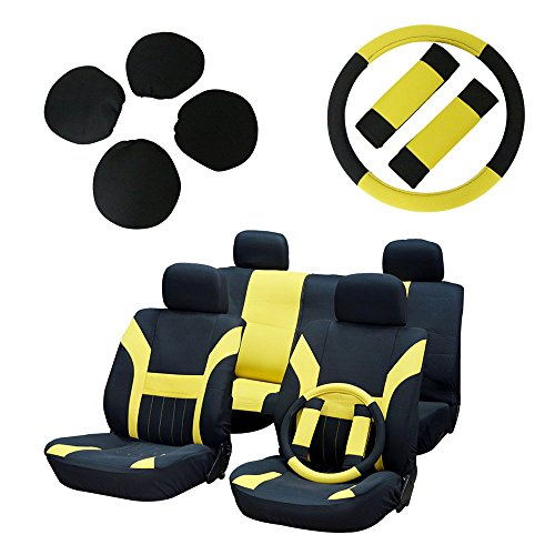 ECCPP Universal Car Seat Cover w/Headrest/Steering Wheel/Shoulder Pads - 100% Breathable Polyester Stretchy Durable for Most Cars Trucks Vans(Black/Yellow) - 1932 Chevy Pickup