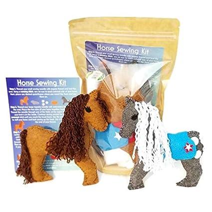 Wildflower Toys Horse Sewing Kit For Kids Felt Craft Kit For Beginners Ages 7 Makes 2 Felt Stuffed Horses