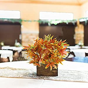 Nahuaa 2PCS Artificial Shrubs Fake Fall Bushes Large Silk Autumn Maple Leaves Bundles Indoor Outdoor Table Centerpieces Arrangements Home Kitchen Office Hanging Baskets Spring Decorations 3
