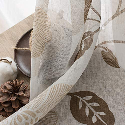 MRTREES Sheer Curtains Floral Printed 84 inch Length Bedroom Linen Blend Textured Curtain Sheers Brown Flower Leaves Print Living Room Drapes Light Filtering Window Treatment Set Rod Pocket 2 Panels