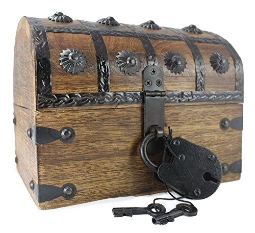 Well Pack Box WellPackBox Wooden Pirate Treasure Chest Box With Full Size Antique Style Lock And Skeleton Key