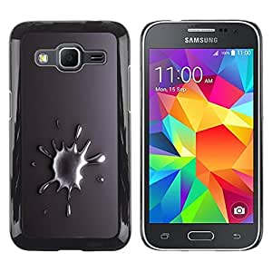 Be Good Phone Accessory // Dura Cáscara cubierta Protectora Caso Carcasa Funda de Protección para Samsung Galaxy Core Prime SM-G360 // Metal Drop Tear Gray White Silver