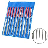 Rannb 180mm/7.1-Inch Length Various Shape Diamond Needle File Set Hand File for Metal Glass Jewelry Rough Slot Filing Guitar Repair Luthier Tool - Pack of 10 (180mm x 5mm)