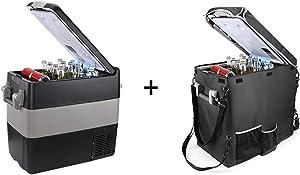 BougeRV 12V Portable Refrigerator 53 Quart Car Freezer Fridge 12V/24V DC 110~240Volt AC for Camping (Included: 53Qt Insulated Cover)