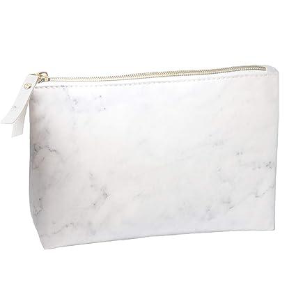 Neceser Maquillaje de mármol Blanco,Estuche Maquillaje, Bolsa de Cosméticos Impermeable Kit Neceser Makeup Bag Viaje para Mujeres, Niña y Infantil