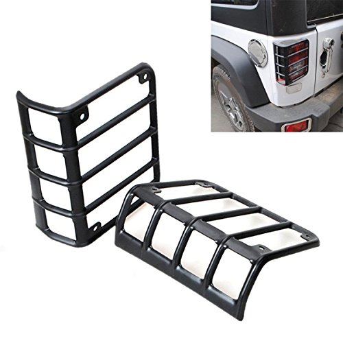 BETOOLL Black Rear Euro Tail Light Guard Cover Protector for 2007-2016 Jeep Wrangler - Pair