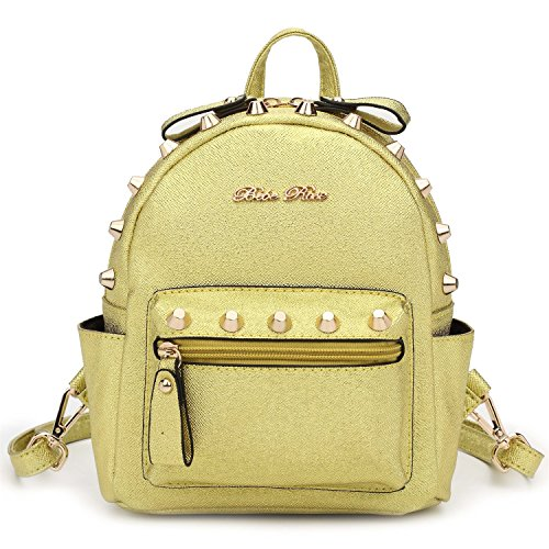 Hearty Trendy Signature Series Metallic Studded Mini Backpack - Metal Gold