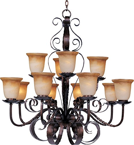 Maxim 20614VAOI Aspen 12-Light Chandelier, Oil Rubbed Bronze Finish, Vintage Amber Glass, MB Incandescent Incandescent Bulb , 60W Max., Dry Safety Rating, Standard Dimmable, Opal Glass Shade Material, Rated Lumens