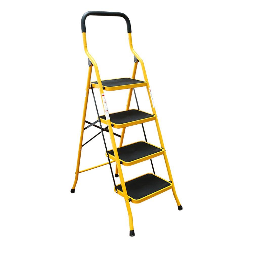 jaune B ZHongWei étape tabouret - 4 chaises de selles de marche d'escalier pour les adultes pliant l'échelle avec la poignée Cuisine d'intérieur escabeau étagère étagère étagère de sto