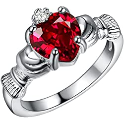 FENDINA Womens Silver Plated Gorgeous Manmade Heart Ruby Claddagh Rings Solitaire Valentine's Day Gifts, Size 7.5