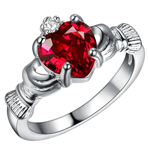 FENDINA Womens Silver Plated Gorgeous Manmade Heart Ruby Claddagh Rings Solitaire Promise Engagement Wedding Bands Eternity Collection Anniversary Rings for Her Valentine's Day Gifts, Size 7