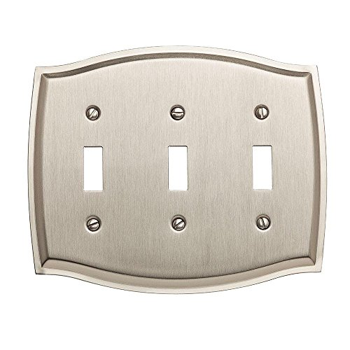 Baldwin 4780.150.CD Colonial Design Triple Toggle Switch Plate, Satin