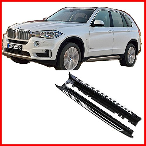 One Pair of Running Boards   Foot Side Steps for 2014-2017 BMW X5 (F15) - OE Style + Aircraft Grade Aluminum (Aluminum Polished Silver)