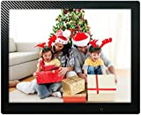 15 inch HD Digital Picture Frame Carbon Fiber - 1080p High Definition Electronic Photo & Video Album With 16GB Memory, Motion Sensor, Built-In Speakers & Remote Control - (Black)