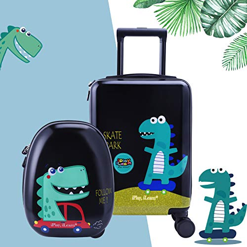 """18"""" Kids Dinosaur Luggage, Hard Shell Travel Carry On Suitcase for Boys Children"""