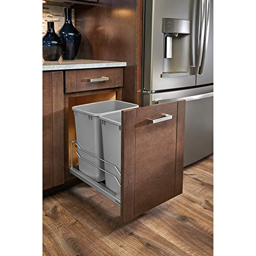 Rev-A-Shelf 53WC-1835SCDM-217 Double 35 Quart Undermount Kitchen Cabinet Pullout Waste Container, Gray