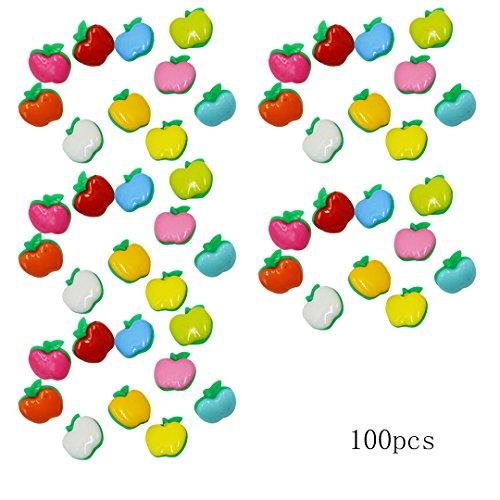 Fairyjp ラブリーりんご型ボタン レディースDIY手作り材料 手芸アクセサリーパーツ 子供おもちゃ アクセサリービーズ 100個 20mm