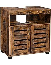 VASAGLE BBK04BX szafka pod umywalkę, 60 x 30 x 63 cm, szafka łazienkowa, szafka do przechowywania, szafka z 2 drzwiczkami lamelowymi, z regulowanym poziomem regału, styl vintage